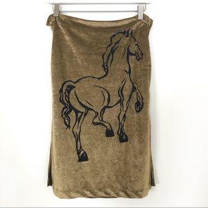 Diesel Gold Velveteen Horse Skirt